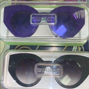 NWT Swatch cateye sunglasses interchangeable case